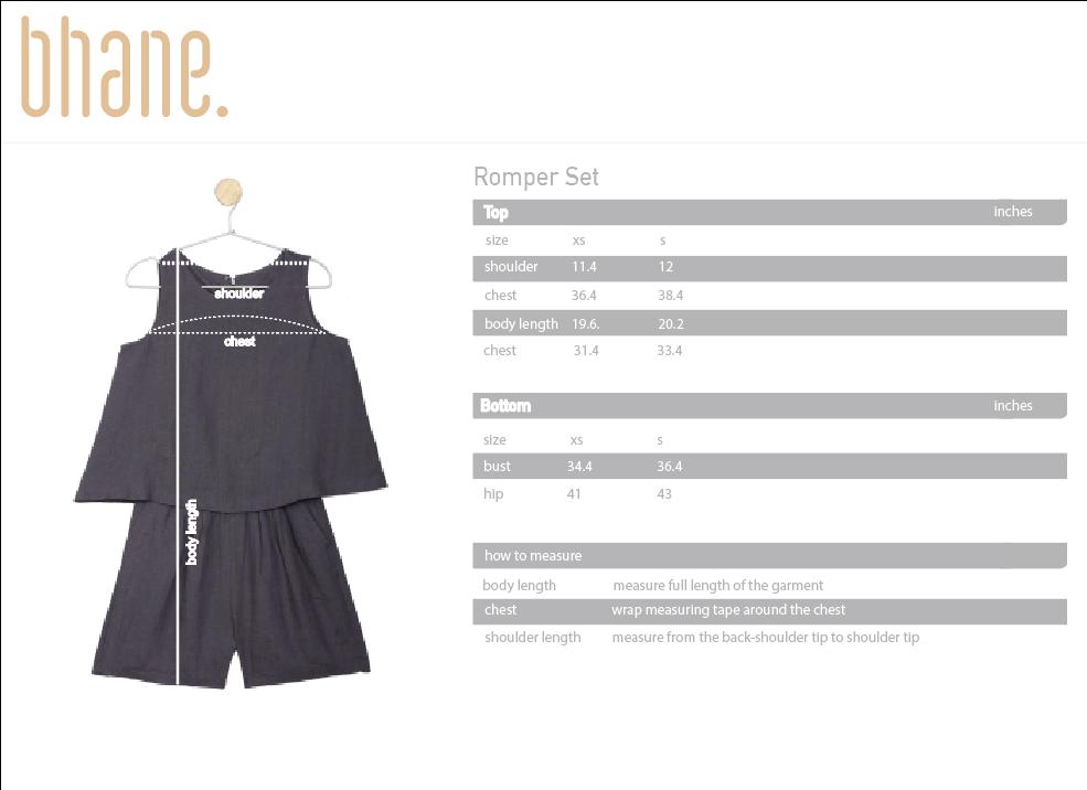 romper set's Size Chart