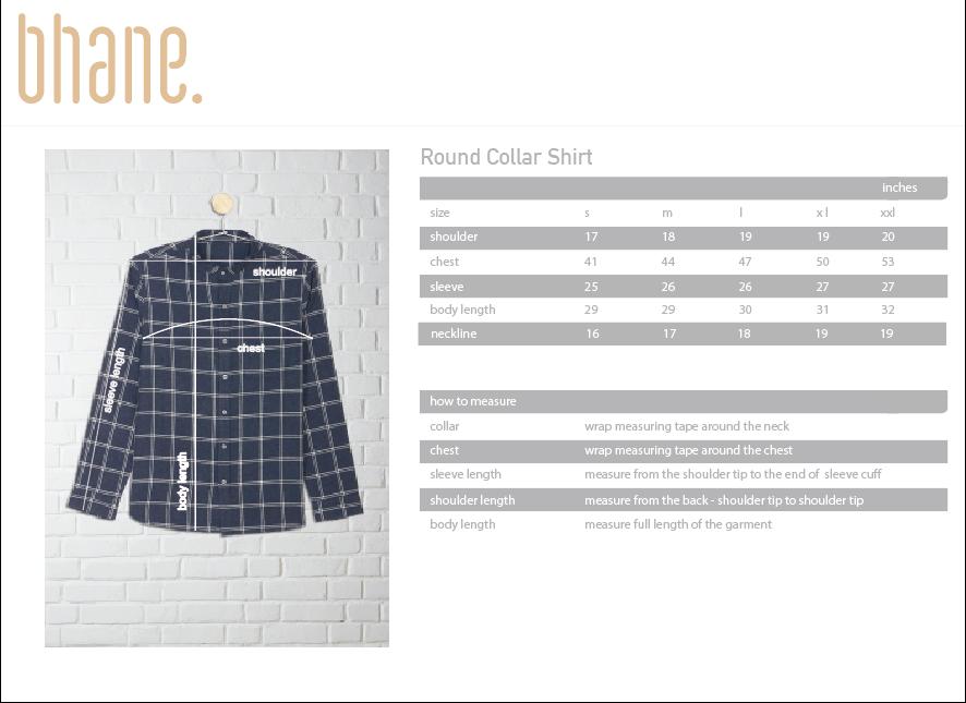 round collar shirt's Size Chart