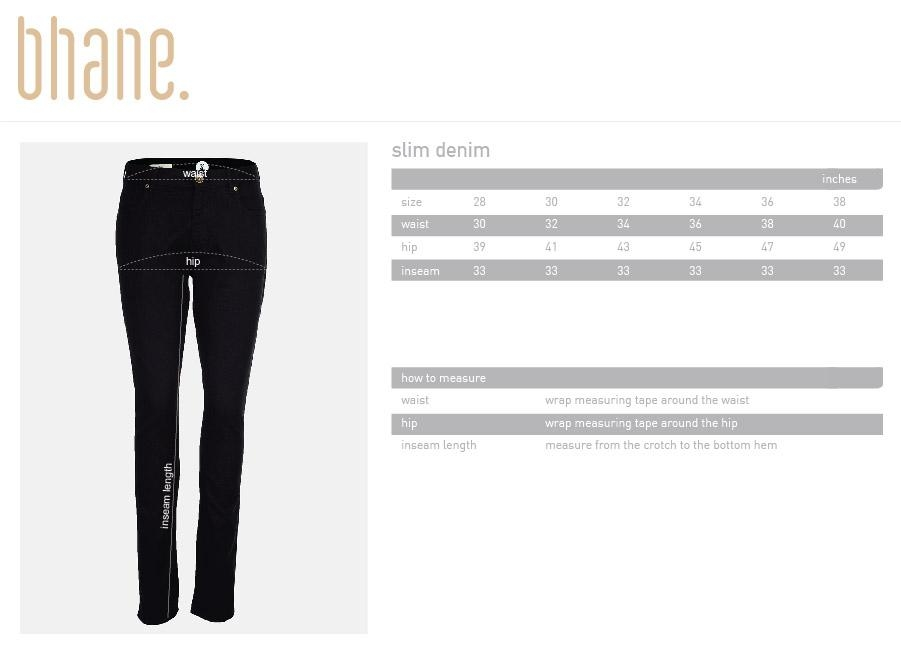 slim denim's Size Chart