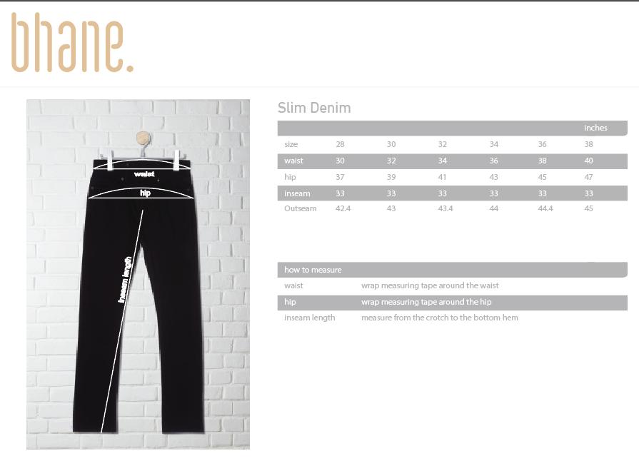 slim denim's Size Chart