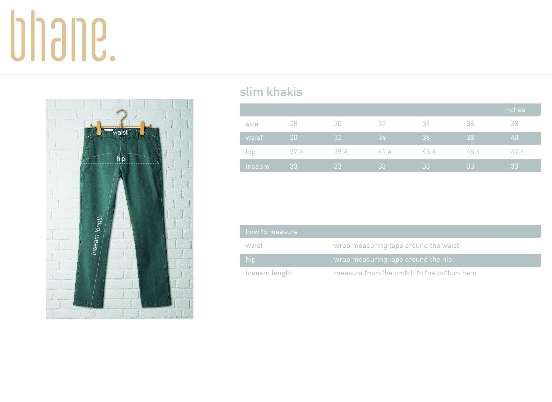 slim khakis's Size Chart