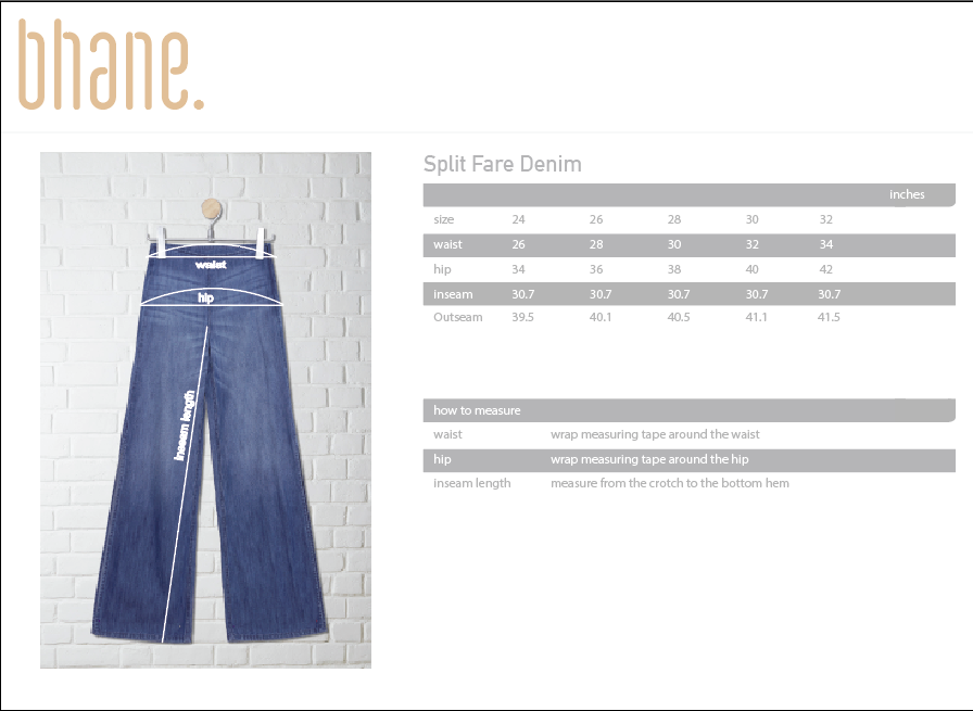 split fare denim's Size Chart