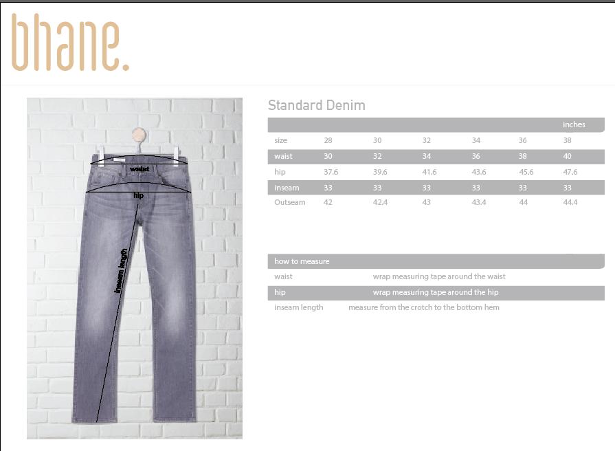 standard denim's Size Chart