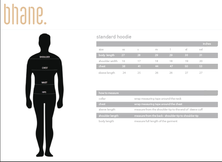 standard hoodie's Size Chart