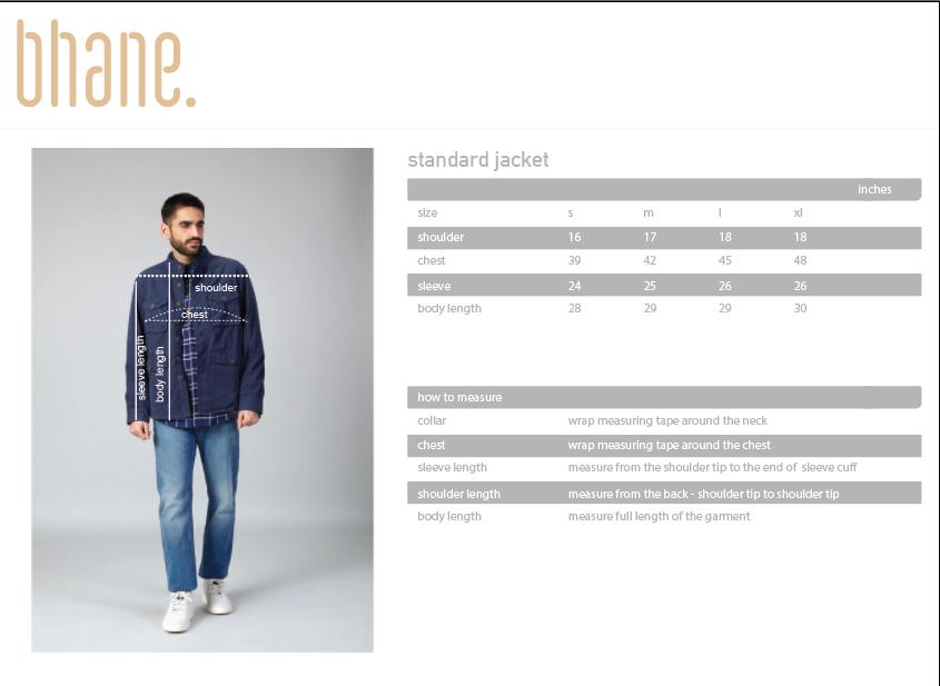 standard jacket's Size Chart