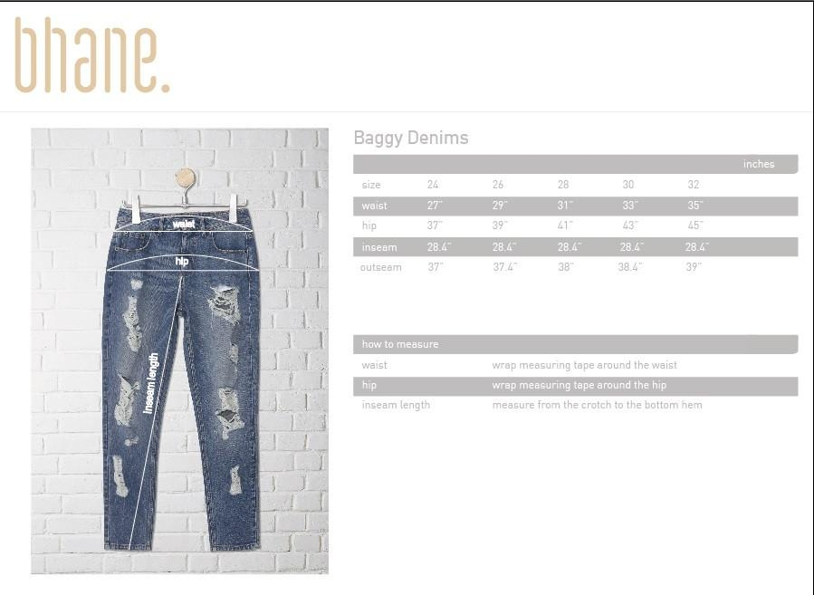 baggy denim's Size Chart
