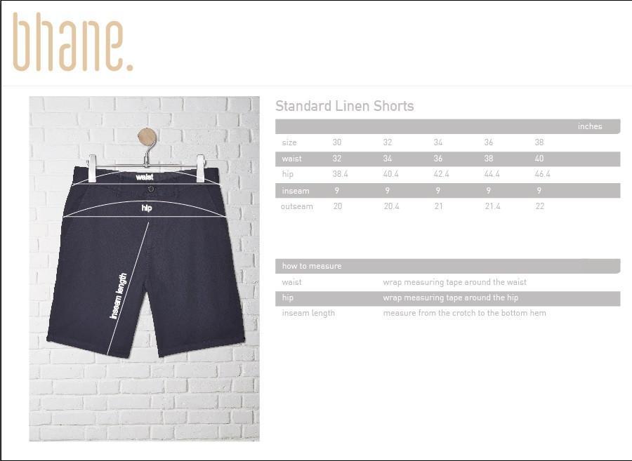 standard linen short's Size Chart