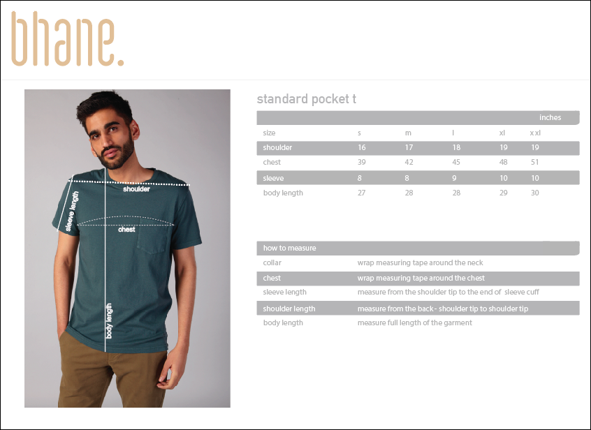 standard pocket t's Size Chart