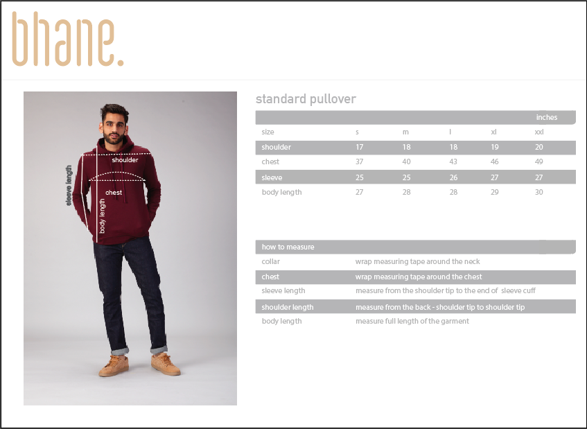 standard pullover's Size Chart