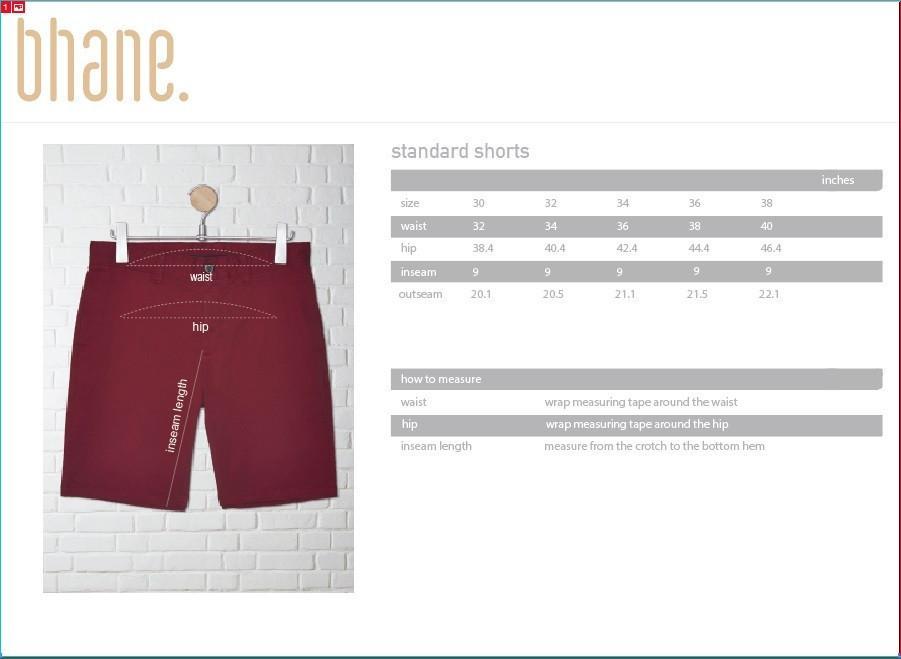 standard shorts's Size Chart