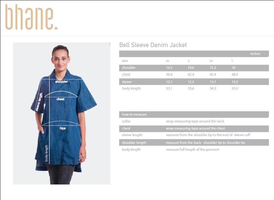 bell sleeve denim jacket's Size Chart