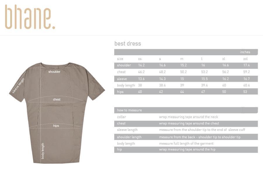 best dress's Size Chart