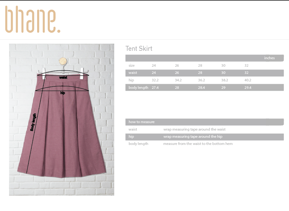 tent skirt's Size Chart