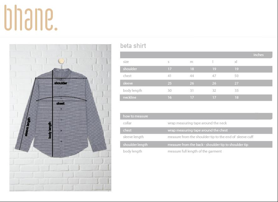 beta shirt's Size Chart