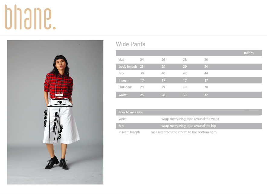 wide pants's Size Chart