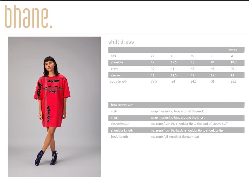 shift dress's Size Chart
