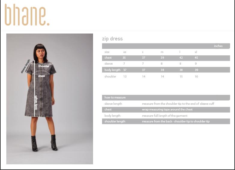 zip dress's Size Chart