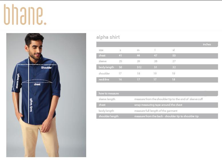 alpha shirt's Size Chart