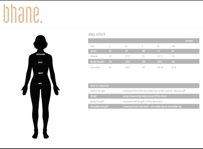 day shirt's Size Chart