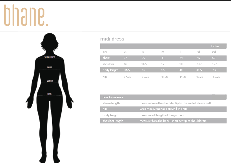 midi dress's Size Chart