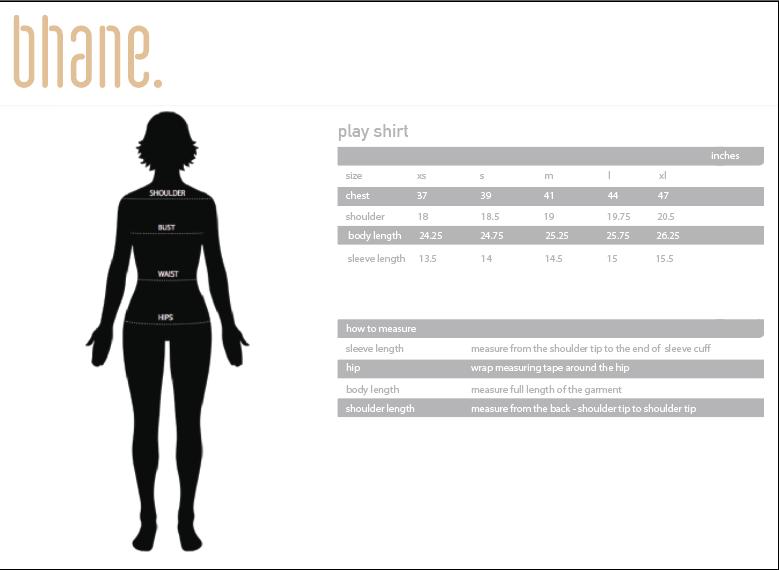 play shirt's Size Chart
