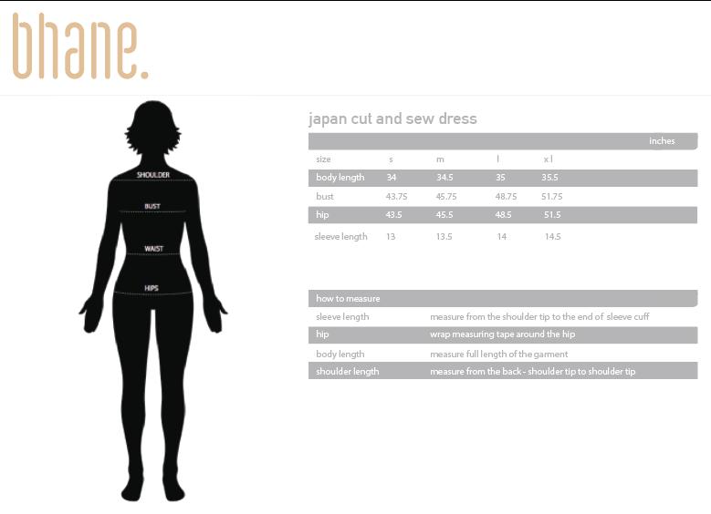 japan cut and sew dress's Size Chart