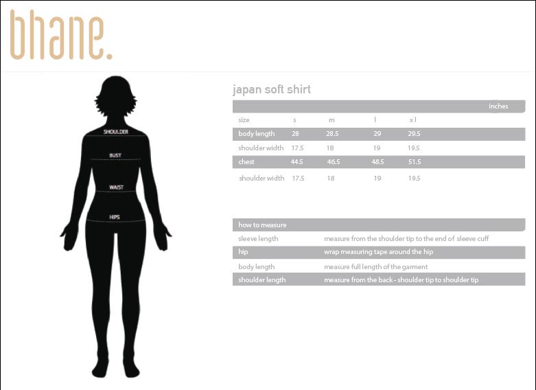 japan soft shirt's Size Chart