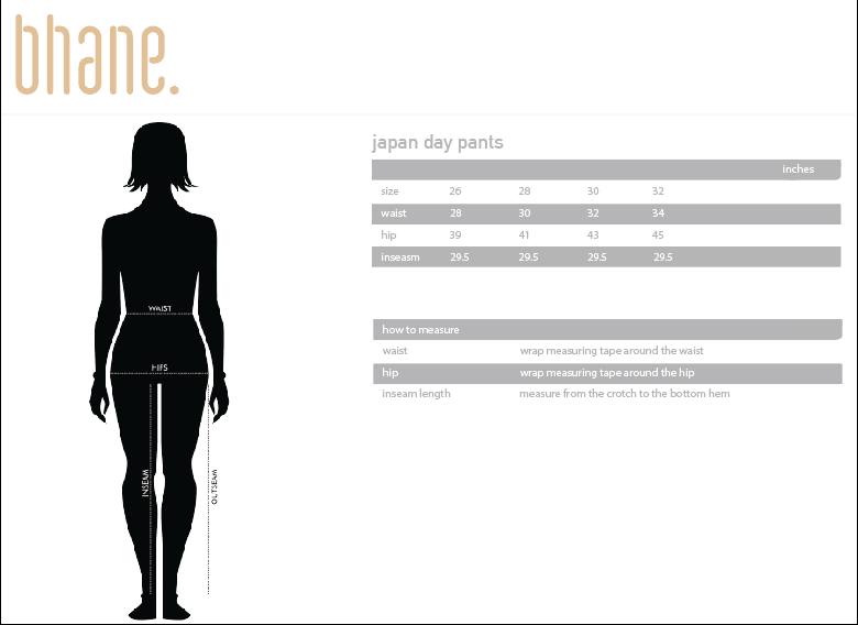 japan day pants's Size Chart