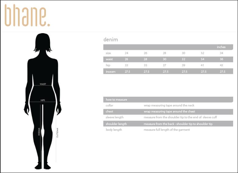 high rise denim's Size Chart
