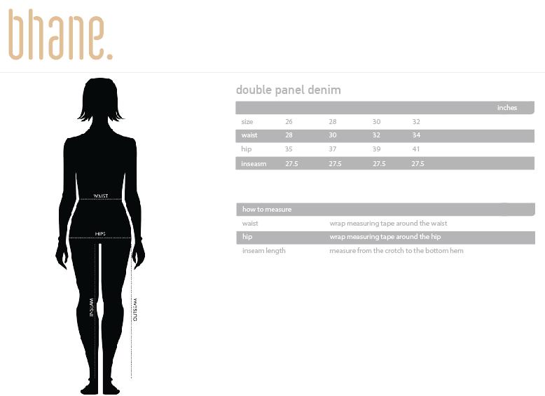 double panel denim's Size Chart