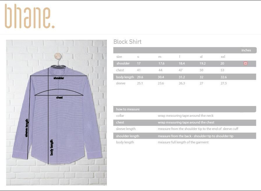 block shirt's Size Chart