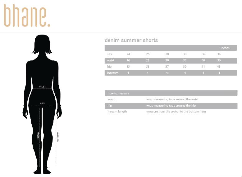 denim summer shorts's Size Chart
