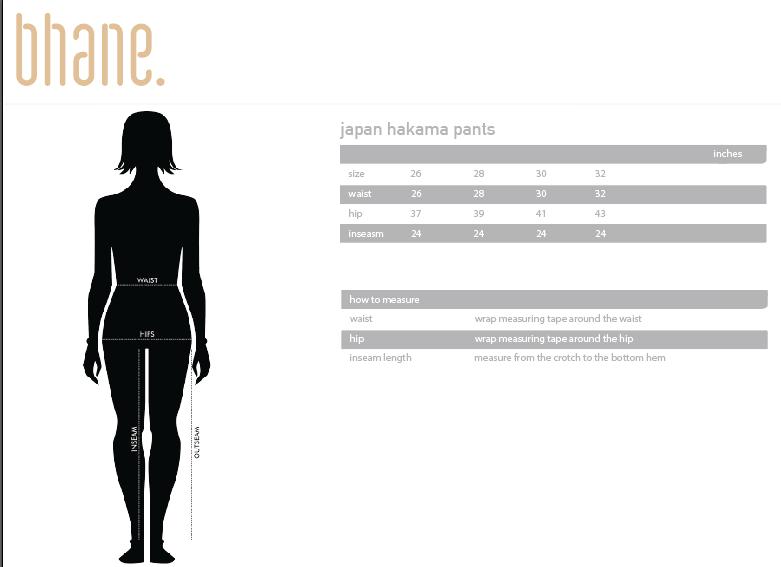 japan hakama pants's Size Chart