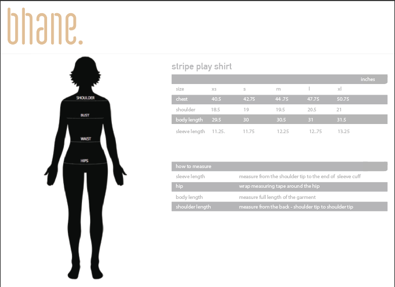 stripe play shirt's Size Chart