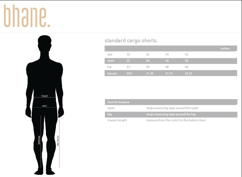 standard cargo shorts's Size Chart