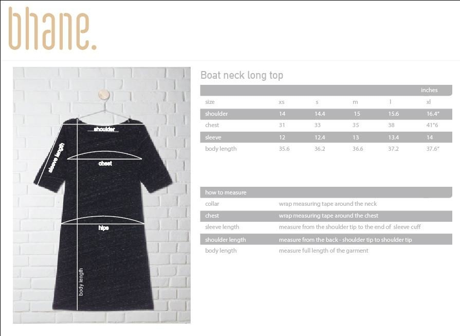 boat neck long top's Size Chart
