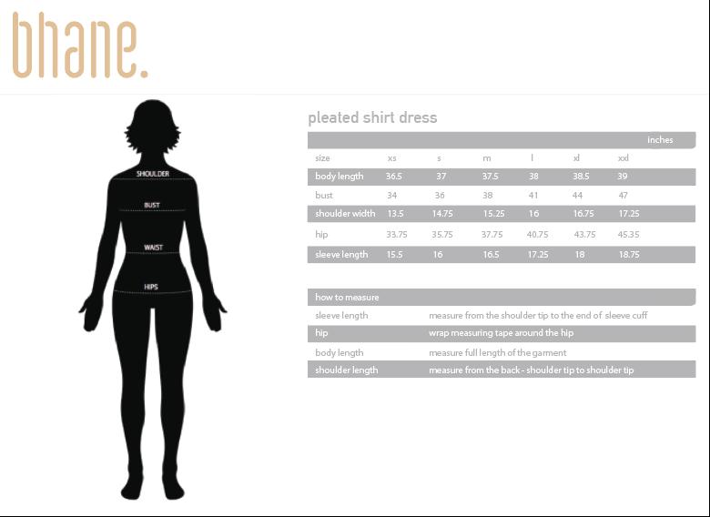 pleated shirt dress's Size Chart