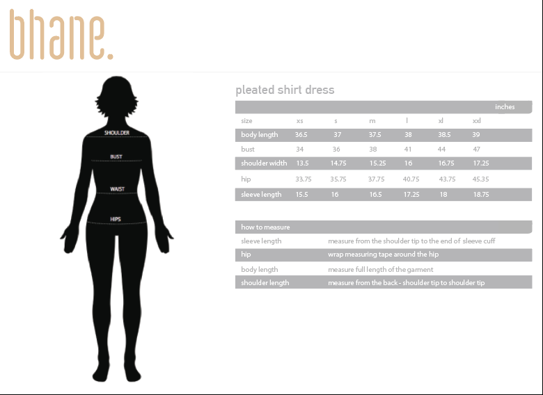 pleated shirt dress's Size Chart