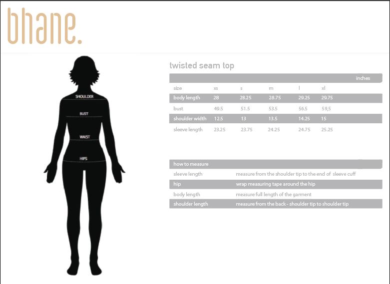 twisted seam top's Size Chart