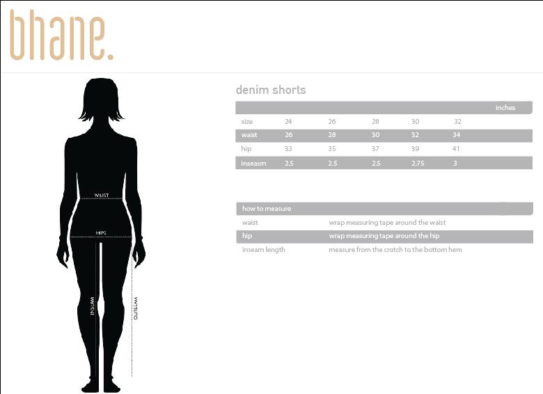 denim shorts's Size Chart