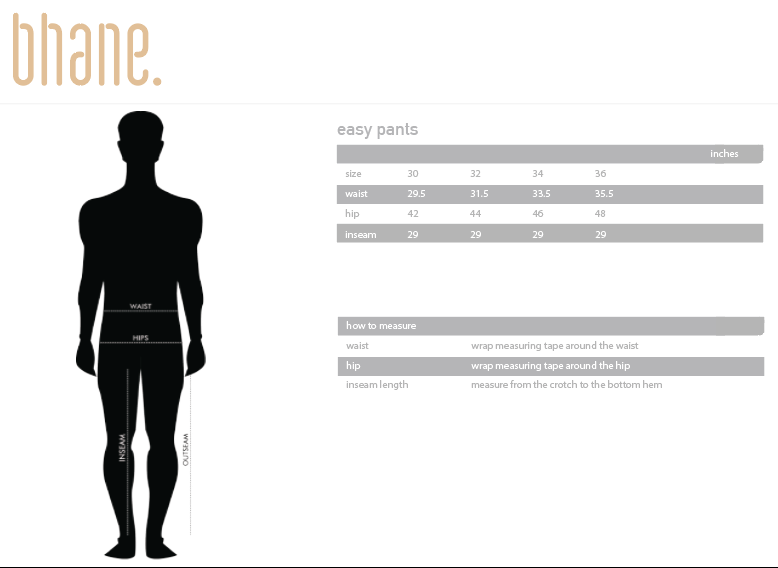 easy pants's Size Chart