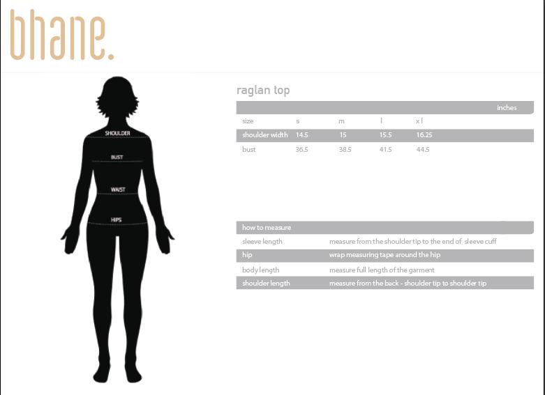 raglan top's Size Chart