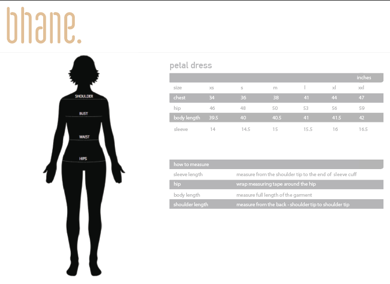petal dress's Size Chart