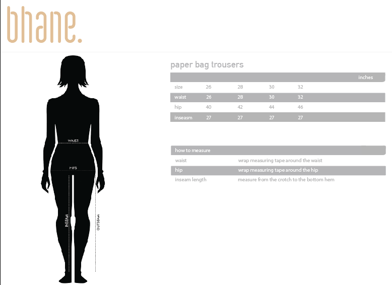paper bag trousers's Size Chart