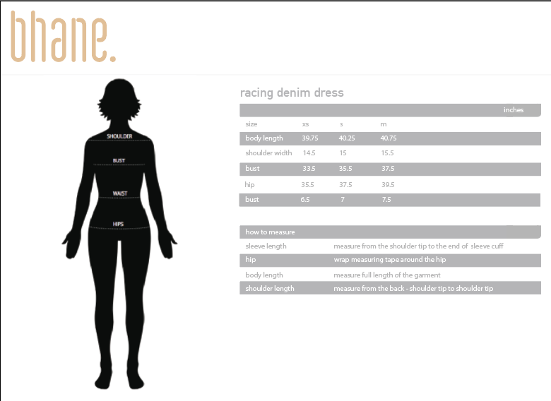 racing denim dress's Size Chart
