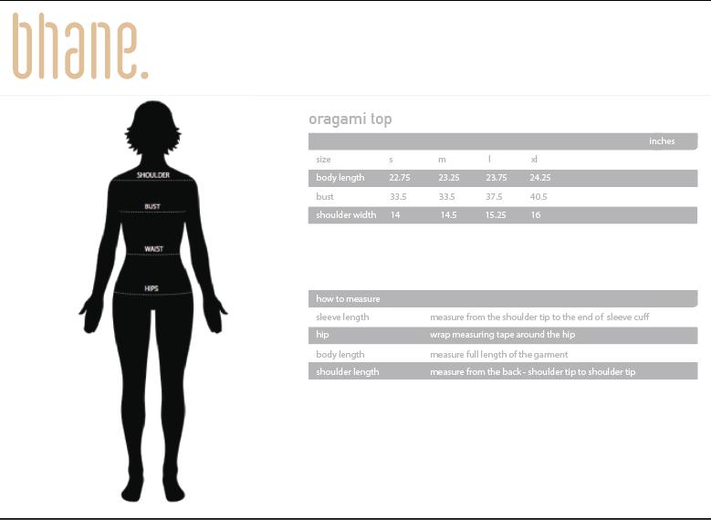 oragami top's Size Chart
