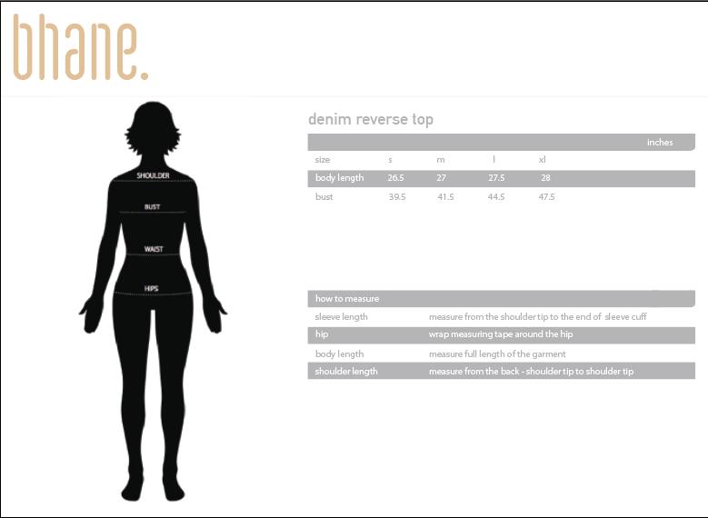 denim reverse top's Size Chart