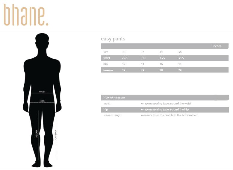 easy pants's Size Chart
