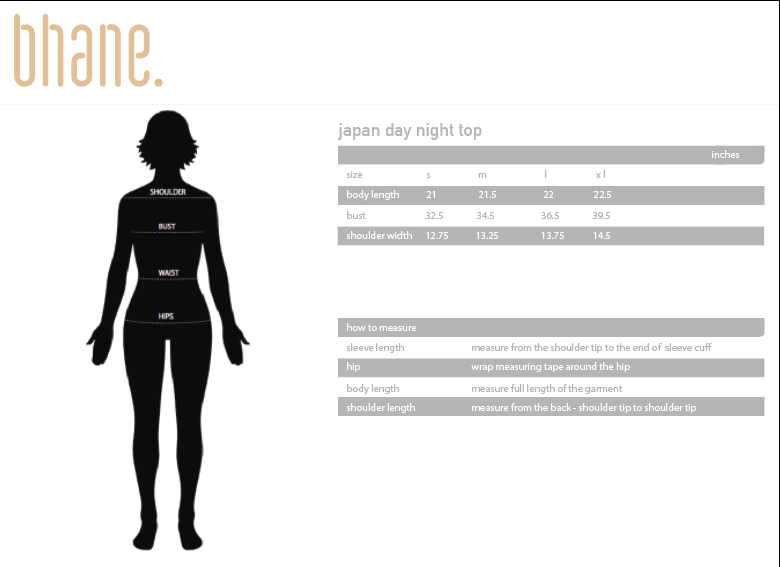 japan day night top's Size Chart