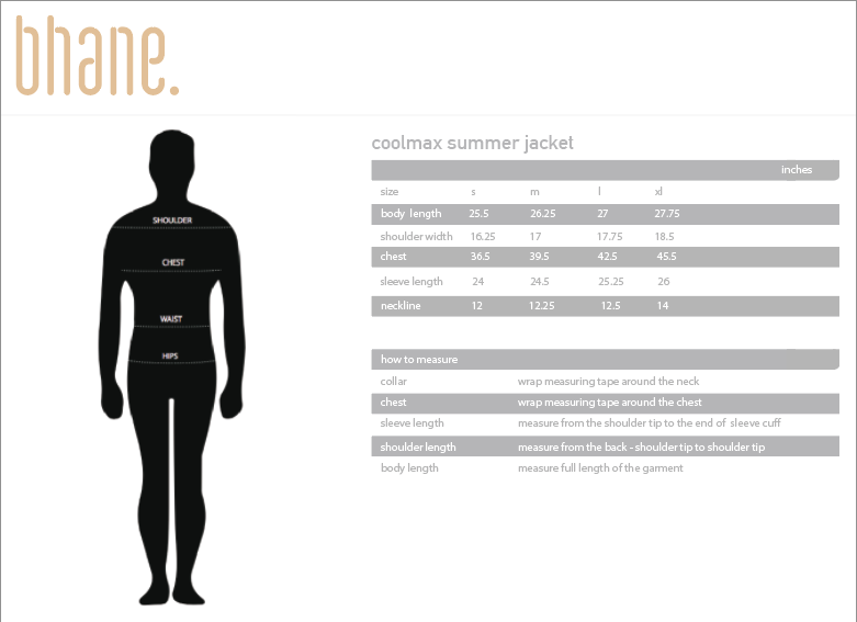 coolmax summer jacket's Size Chart